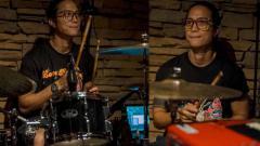 Indosport - Pradikta Wicaksono saat bermain drum.