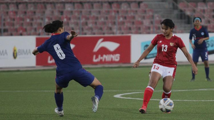 Pertandingan Kualifikasi Piala Asia 2022 antara timnas Indonesia putri versus Singapura, Senin (27/9/21). Copyright: PSSI