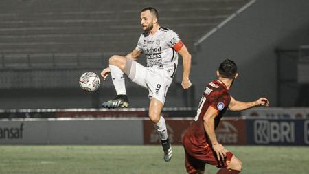 Aksi Ilija Spasojević di laga Borneo FC vs Bali United dalam lanjutan Liga 1 2021. - INDOSPORT