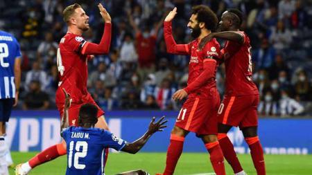 Aksi selebrasi pemain Liverpool usai kalahkan FC Porto dengan skor 5-1 - INDOSPORT