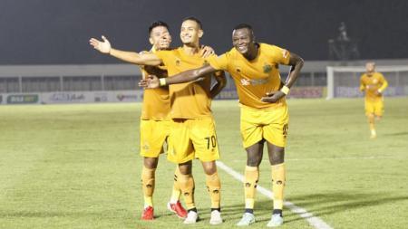 Selebrasi Renan Silva di laga Liga 1 Bhayangkara FC vs Persik Kediri - INDOSPORT