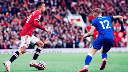 Aksi Mason Greenwood di laga Man United vs Everton (02/10/21). - INDOSPORT