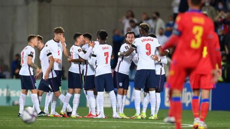 Selebrasi pemain Inggris usai mencetak gol dalam pertandingan Kualifikasi Piala Dunia 2022 melawan Andorra, Sabtu (9/10/21). - INDOSPORT