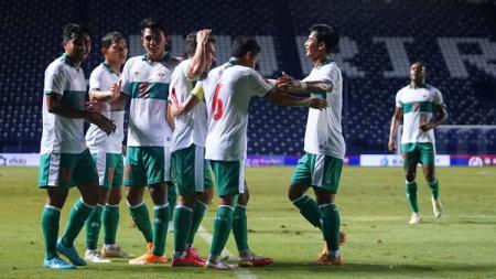 Selebrasi gol Indonesia di laga melawan Taiwan di Playoff Kualifikasi Piala Asia 2023 - INDOSPORT