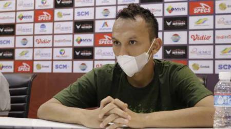 Pemain PSMS Medan, Rahmat Hidayat dalam jumpa pers usai laga Liga 2 melawan Muba Babel United. - INDOSPORT