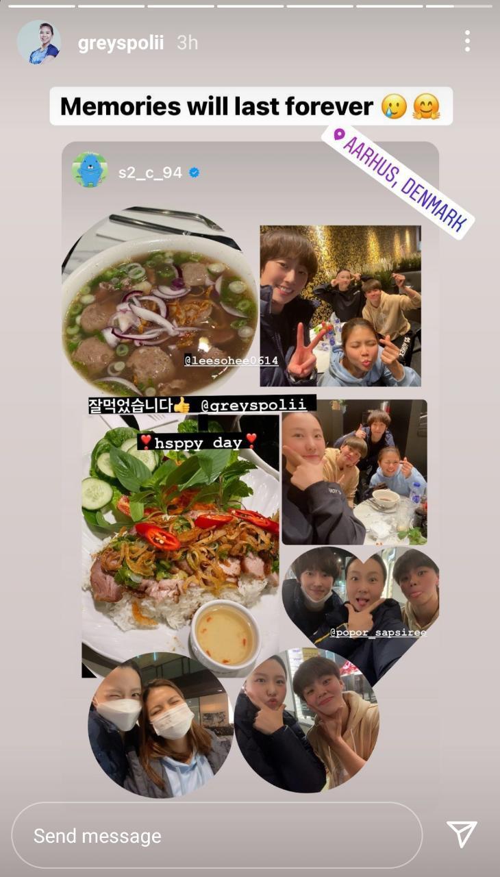 Greysia Polii makan bareng bersama Popor Sapsiree Taerattanachai, Lee So-hee, dan Shin Seung-chan Copyright: instagram.com/greyspolii/