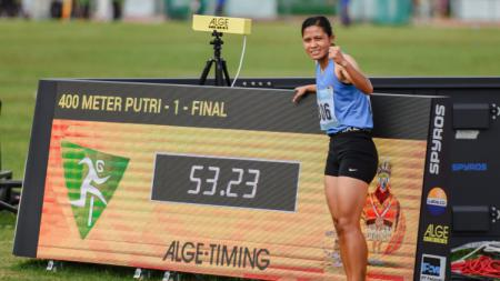 Pelari Asal Sumatera Selatan, Sri Mayasari sang pemecah rekor PON dan rekor Nasional di nomor lari 400 meter putri. - INDOSPORT