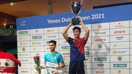 Loh Kean Yew saat juara di Dutch Open 2021, sementara Lakshya Sen menjadi runner up. - INDOSPORT