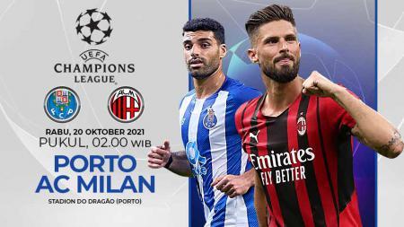 Link live streaming pertandingan fase grup Liga Champions antara FC Porto vs AC Milan yang akan berlangsung pada hari Rabu (20/10/21) pukul 02.00 WIB. - INDOSPORT