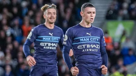 Pemain muda Manchester City, Phil Foden di laga melawan Brighton di Liga Inggris. - INDOSPORT