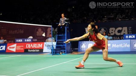 Li Xuerui mengalahkan Ratchanok Intanon di final Indonesia Open 2014, Minggu (22/06/14). - INDOSPORT