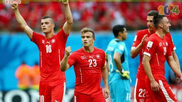 Swiss merayakan kemenangan 3-0 atas Honduras, Kamis (26/06/14) dini hari WIB.