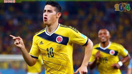 James Rodriguez berelebrasi usai cetak gol spektakuler di Piala Dunia 2014. - INDOSPORT