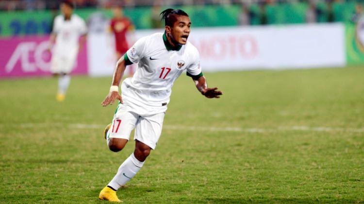 Zulham Malik Zamrun merayakan golnya ke gawang Vietnam pada pertandingan penyisihan Piala AFF 2014 Grup A di Stadion My Din Copyright: Antara