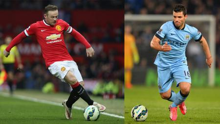 Wayne Rooney dan Sergio Aguero berseragam duo Manchester. - INDOSPORT