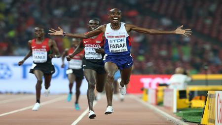 Aksi Mo Farah di ajang Olimpiade. - INDOSPORT