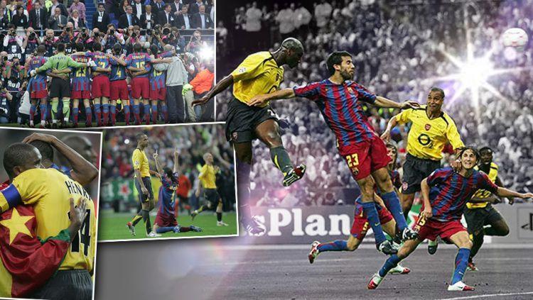 On this day: Barcelona hancurkan 10 pemain Arsenal dan sukses menangkan Liga Champions 2006 silam. Copyright: © Grafis: Eli Suhaeli/INDOSPORT/INTERNET