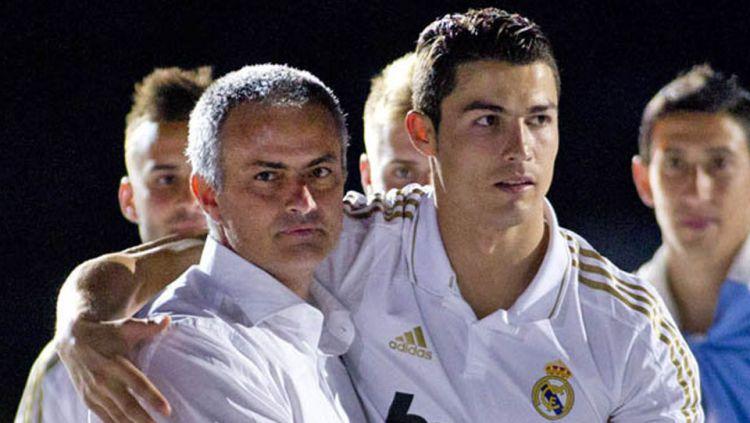 Jose Mourinho saat menjadi pelatih Real Madrid dan Cristiano Ronaldo. Copyright: © INTERNET