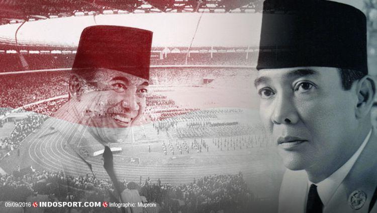 Presiden pertama Republik Indonesia, Soekarno, adalah penggagas terbentuknya GANEFO. Copyright: © Grafis: Muproni/INDOSPORT-Internet