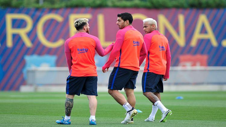 Trio Lionel Messi, Luis Suarez, dan Neymar Jr. Copyright: © INTERNET