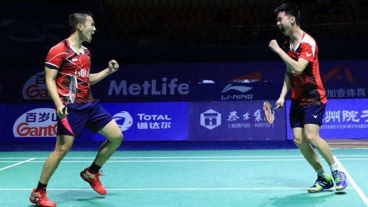 Ganda Putra Indonesia, Kevin Sanjaya Sukamuljo/Marcus Fernaldi Gideon,masuk daftar unggulan China Open 2019. Copyright: © HUMAS PBSI