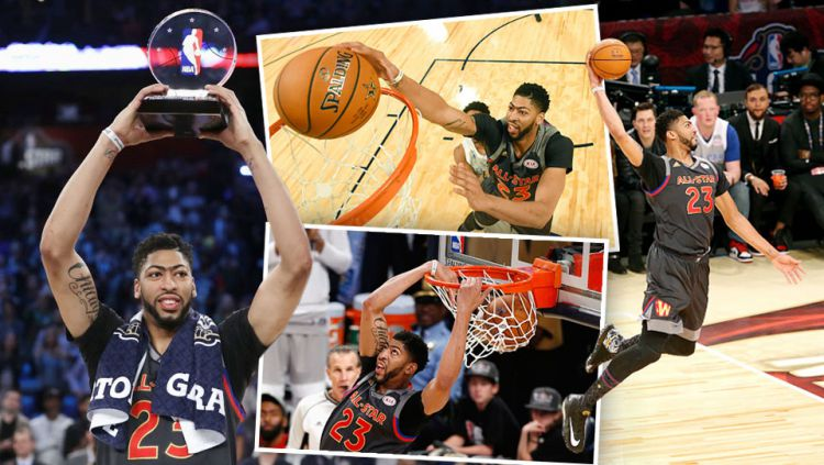Bintang klub New Orleans Pelicans,  Anthony Davis ukir rekor di NBA All Star 2017. Copyright: Ronald Martinez/Bob Donnan - Pool/Jonathan Bachman/Layne Murdoch/NBAE via Getty Images