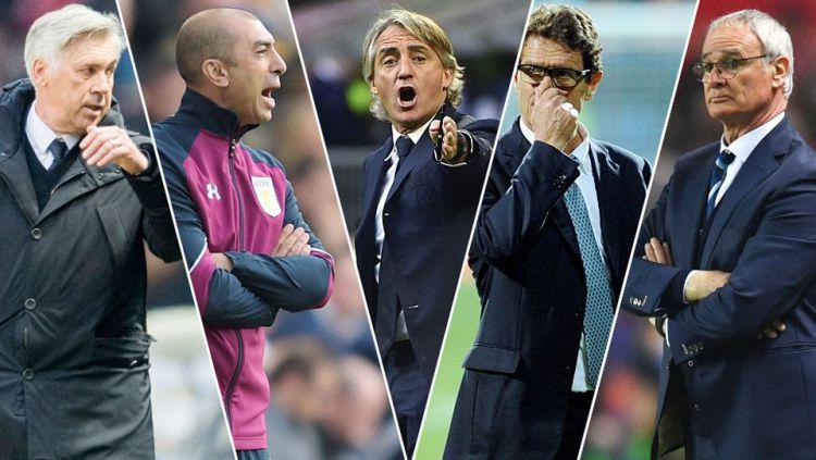 Carlo Ancelotti, Roberto Di Matteo, Roberto Mancini, Fabio Capello, dan Claudio Ranieri. Copyright: © INDOSPORT/Getty Images