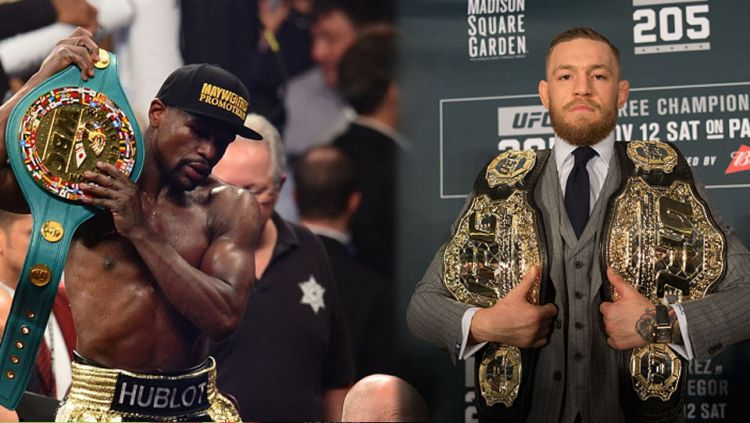 Floyd Mayweather dan Conor McGregor. Copyright: © Indosport/Gettyimages