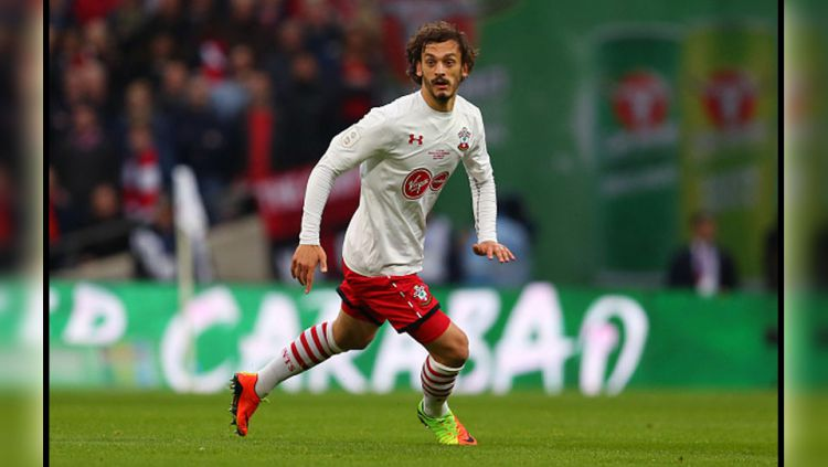 Penyerang Southampton, Manolo Gabbiadini tampil cemerlang saat melawan Manchester United. Copyright: © Catherine Ivill/AMA/Getty Images