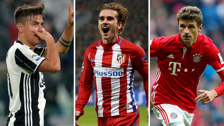 Paulo Dybala, Antoine Griezmann dan Thomas Mueller. Copyright: © Getty Images