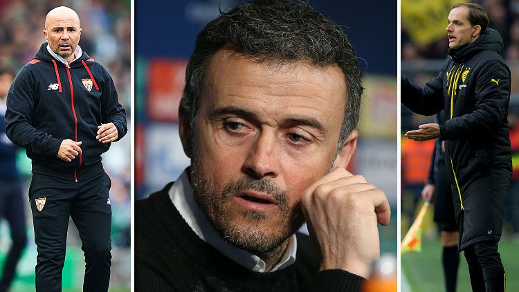 Jorge Sampaoli dan Thomas Tuchel dijagokan untuk menggantikan posisi Luis Enrique. Copyright: Aitor Alcalde Colomer/ TF-Images/Jean Catuffe/Getty Images