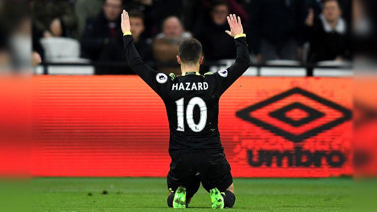 Selebrasi Eden Hazard saat membobol gawang West Ham United. Copyright: © Darren Walsh/Chelsea FC via Getty Images