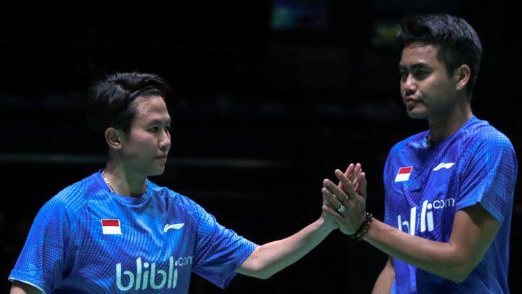 Tontowi Ahmad dan Liliyana Natsir setelah pertandingan. Copyright: Humas PBSI