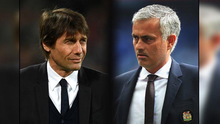 Pelatih Chelsea, Antonio Conte dan pelatih Man United, Jose Mourinho. Copyright: © Ben Hoskins/GettyImages