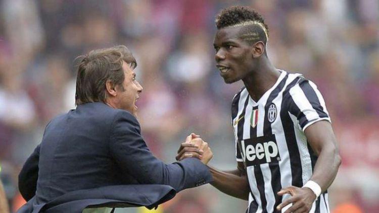 Conte dan Pogba saat masih di Juventus. Copyright: © Yahoo Sports
