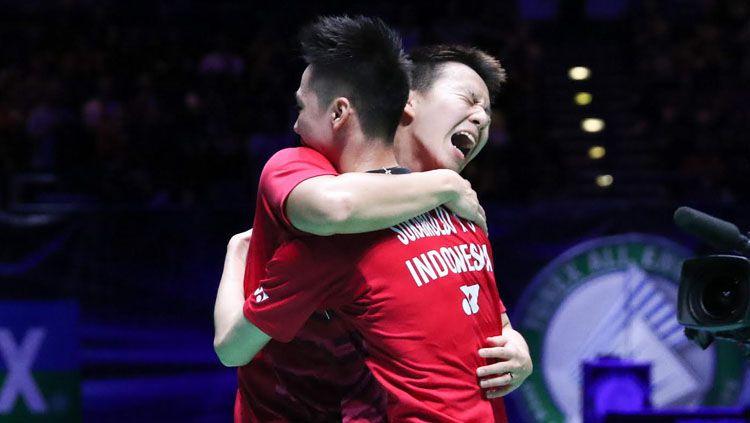 Kevin Sajaya dan Marcus Gideon menjuarai Japan Open Super Series 2017. Copyright: © Humas PBSI