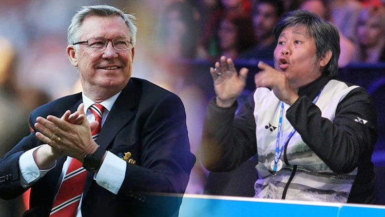 Herry IP (kanan) dan Sir Alex Ferguson. Copyright: © HUMAS PBSI/telegraph