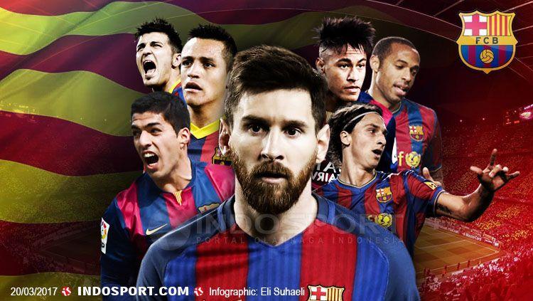 Lionel Messi catat rekor apik dengan selalu mencetak 40 gol dalam 8 musim secara beruntun. Copyright: Grafis: Eli Suhaeli/INDOSPORT/Getty Images