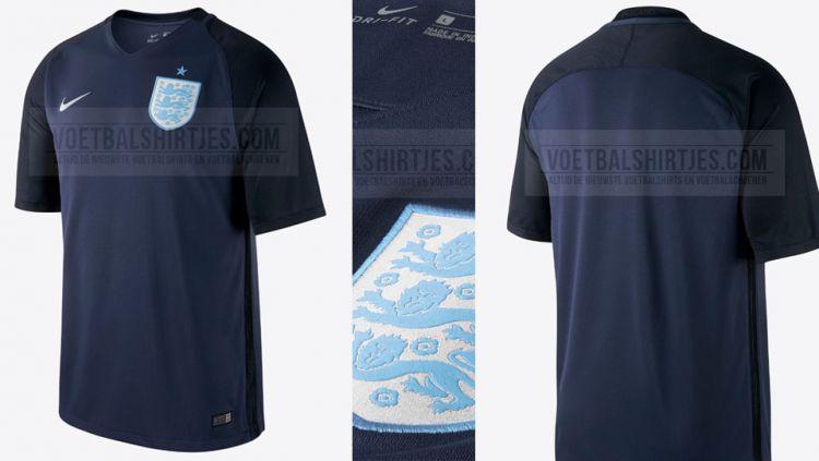 Jersey ketiga dari Timnas Inggris. Copyright: © voetbalshirtjes.com