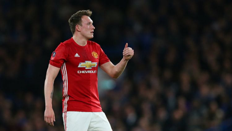 Pemain belakang Manchester United, Phil Jones. Copyright: © Catherine Ivill - AMA/Getty Images