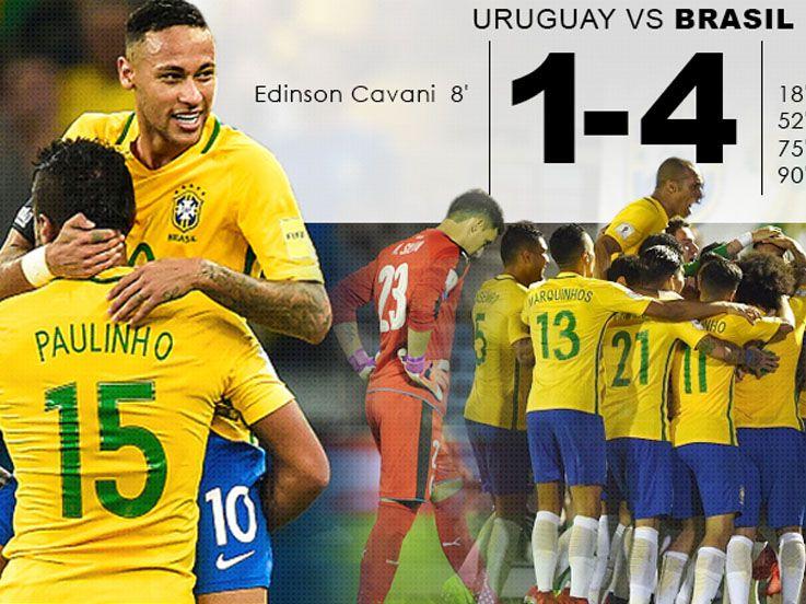 (CUPLIKAN GOL) Uruguay 1-4 Brasil: Samba Kokoh di Puncak
