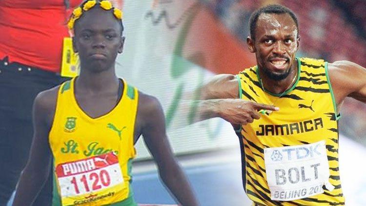 Pelari Jamaika, Brianna Lyston (kiri) dan Usain Bolt. Copyright: © dailymail.co.uk