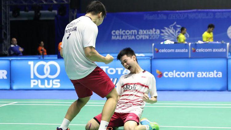 Kevin Sanjaya Sukamuljo/Marcus Fernaldi Gideon lolos ke semifinal Malaysia Open 2017 Copyright: © Humas PBSI