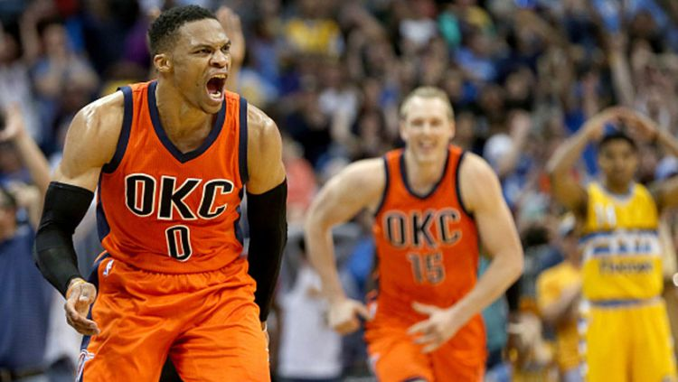 Russell Westbrook (Oklahoma City Thunder). Copyright: © Matthew Stockman/Getty Images