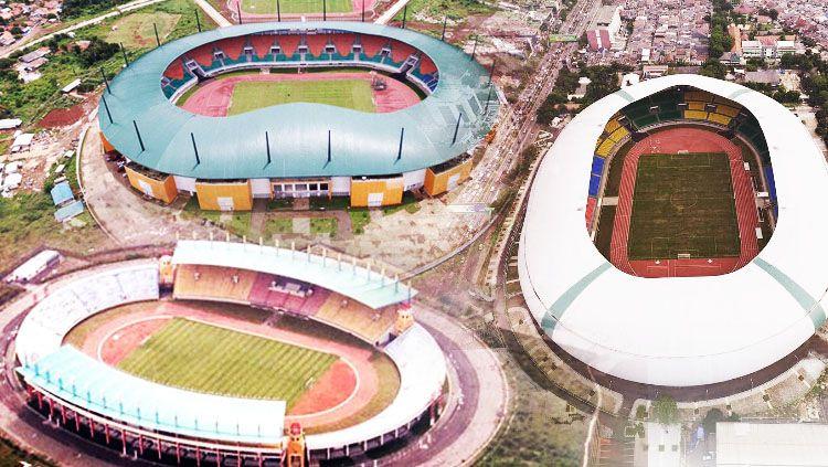 Ilustrasi Stadion Patriot, Pakansari dan Si Jalak Harupat. Copyright: © INDOSPORT/Istimewa