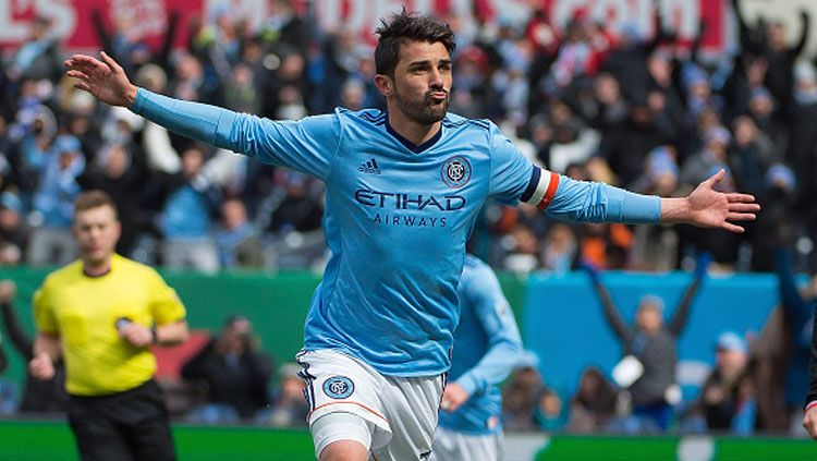 Selebrasi David Villa pada laga saat melawan DC United. Copyright: © Michael Stewart/Getty Images