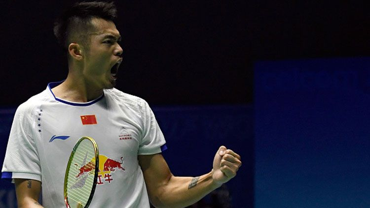 Tunggal putra China, Lin Dan melakukan selebrasi. Copyright: © Allsport Co./Getty Images