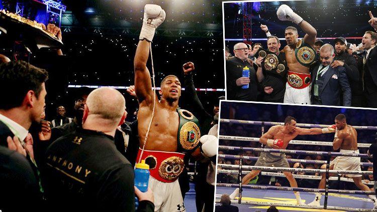 Anthony Joshua memenangkan pertarungan melawan Wladimir Klitschko di babak 11. Copyright: © @PA