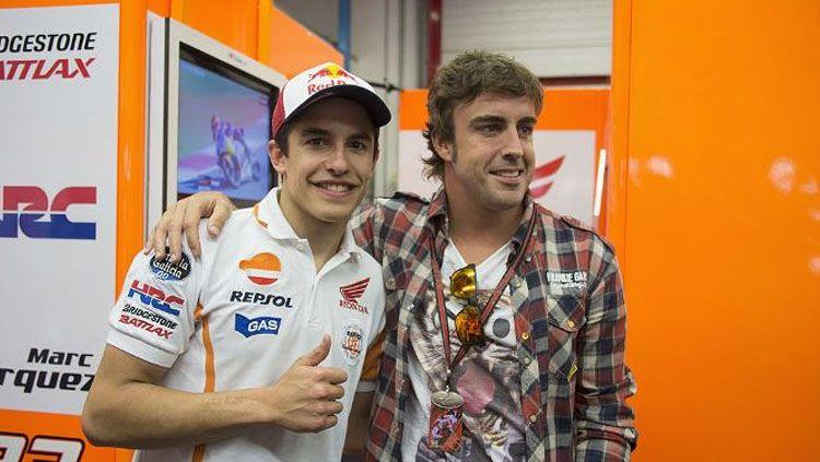 Fernando Alonso dan Marc Marquez. Copyright: © Tuttomotoriweb