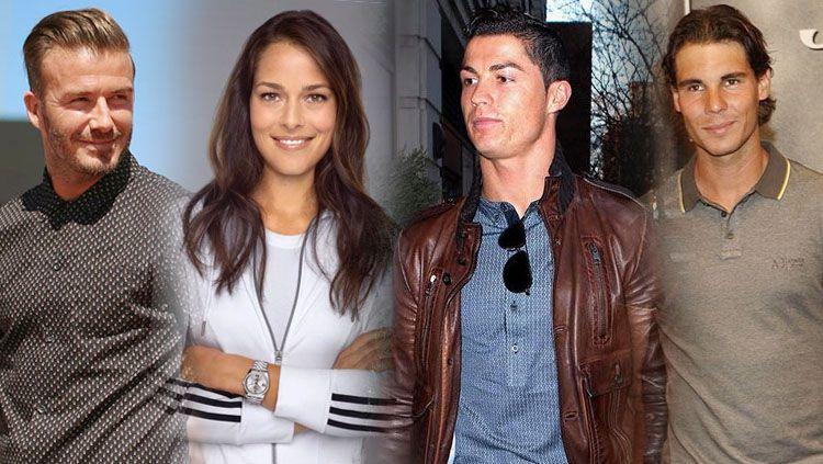 Kiri-kanan: David Beckham, Ana Ivanovic, Cristiano Ronaldo, dan Rafael Nadal. Copyright: INDOSPORT/Getty Images